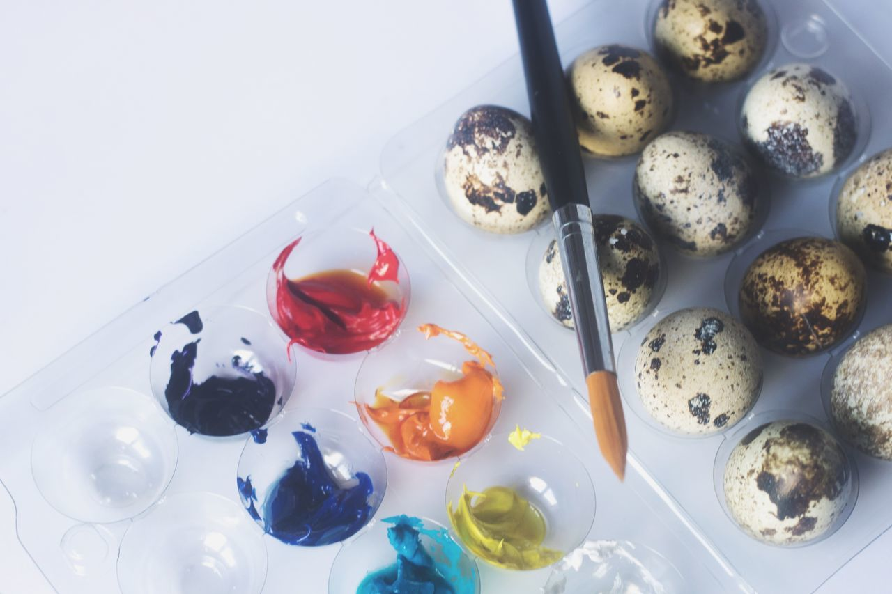 High Angle View Variation No People Indoors  Food Easter Art Quail Eggs Multi Colored Day Freshness Ready-to-eat