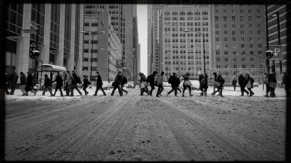 Walk of life. Franklin and Randolph Streets, Chicago. Building Exterior Large Group Of People Architecture Real People Built Structure City City Life Men Outdoors Day Women Mixed Age Range Skyscraper Adults Only People Adult Hipstamatic Shootermag Blackandwhite My Commute Streetphotography Streetphoto_bw Photojournalism