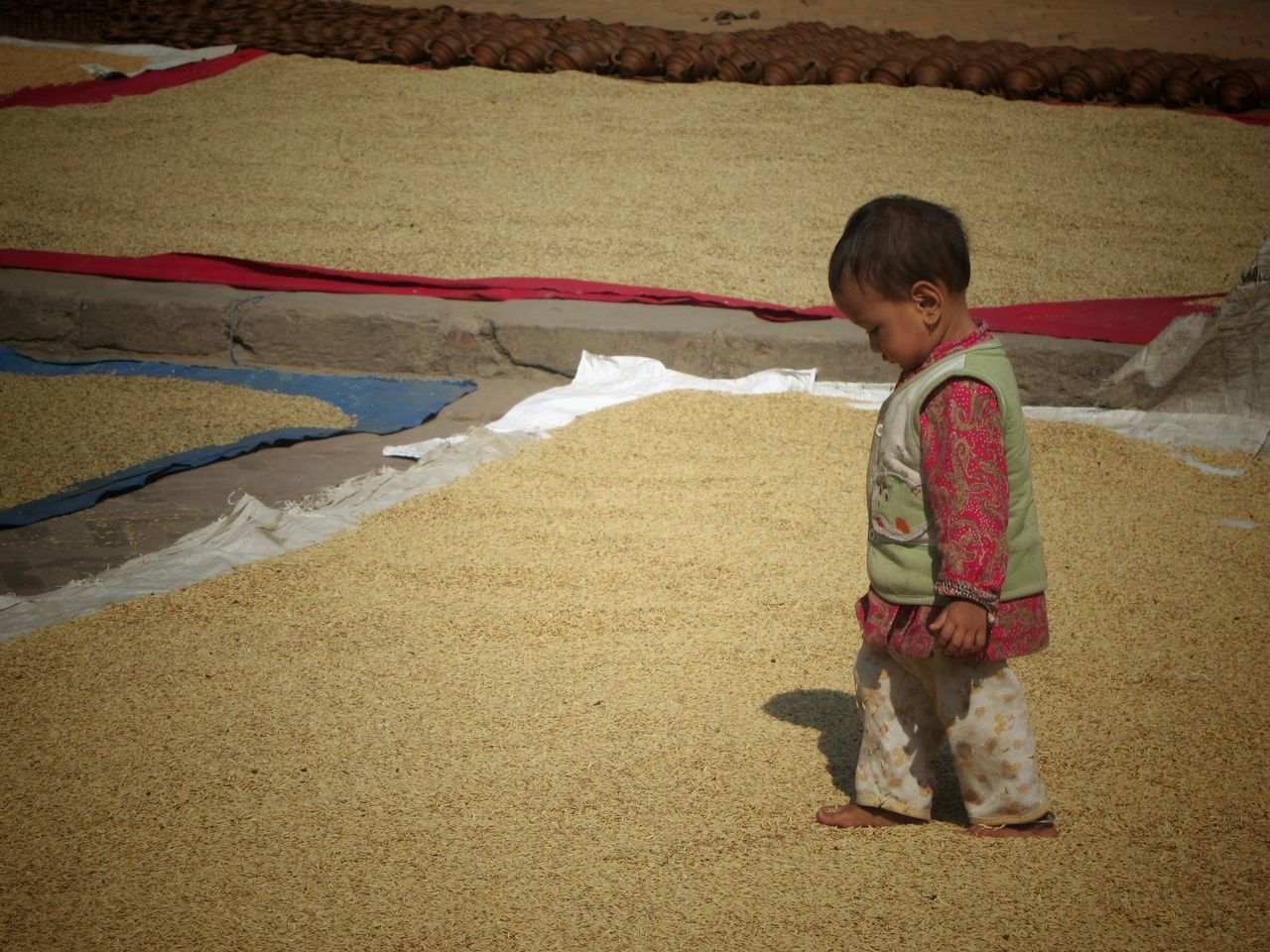 Child walking on Rice Grains in Bhaktapur Nepal Courtyard  Culture Heritage Toddler  Child Newari Kathmandu Tradition UNESCO World Heritage Site Rural Scenes Travel Up Close Street Photography Agriculture Telling Stories Differently People And Places Miles Away