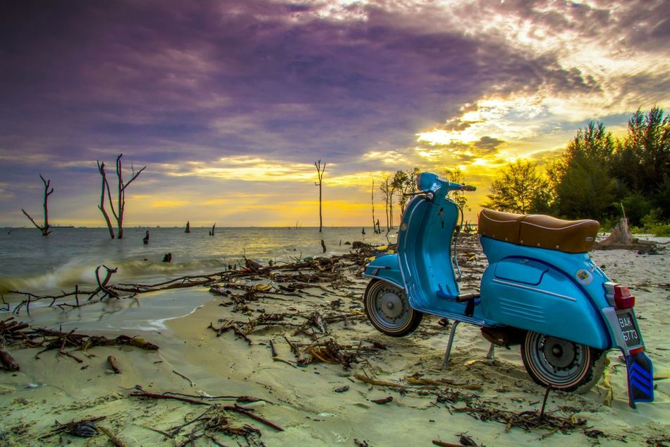 Sunset Sea Beach Sand Outdoors Nature Chair Vacations Sky Postcard Beauty In Nature Tranquil Scene Cloud - Sky Scenics Sun Landscape No People Horizon Over Water Water Day Vespa Retro Vintage Tranport