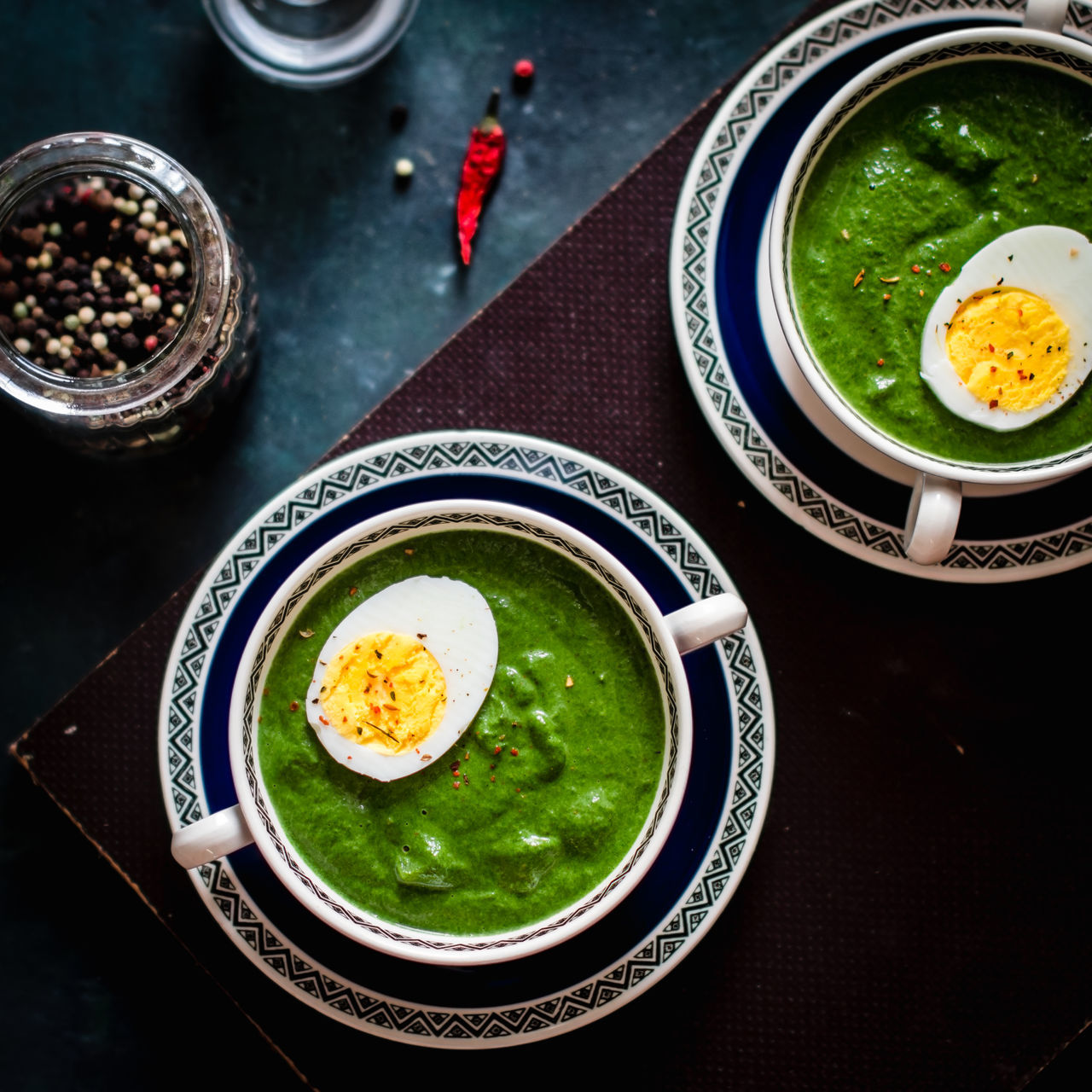 spinach soup with egg Bowl Chopsticks Close-up Day Directly Above Egg Egg Yolk Food Food And Drink Freshness Fried Egg Healthy Eating Indoors  Korean Food No People Plate Ready-to-eat Soup Spinach Sunny Side Up Table Vegetarian Food