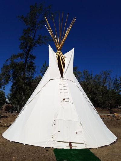 Teepee Camping No People Outdoors Blue Tree Sky Day