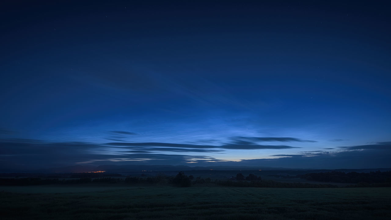 landscape, blue, nature, field, beauty in nature, sky, tranquil scene, scenics, tranquility, no people, night, outdoors, astronomy