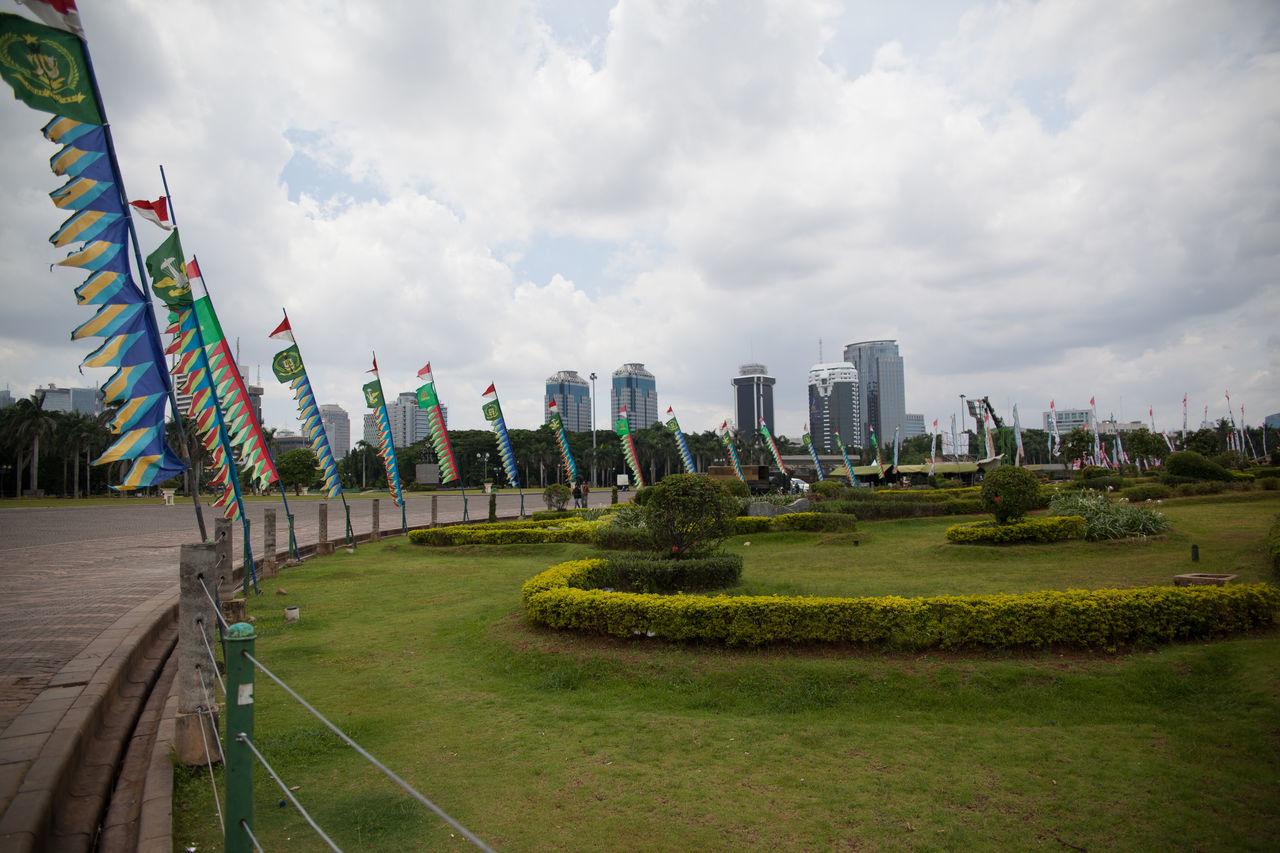 Flags around a garden