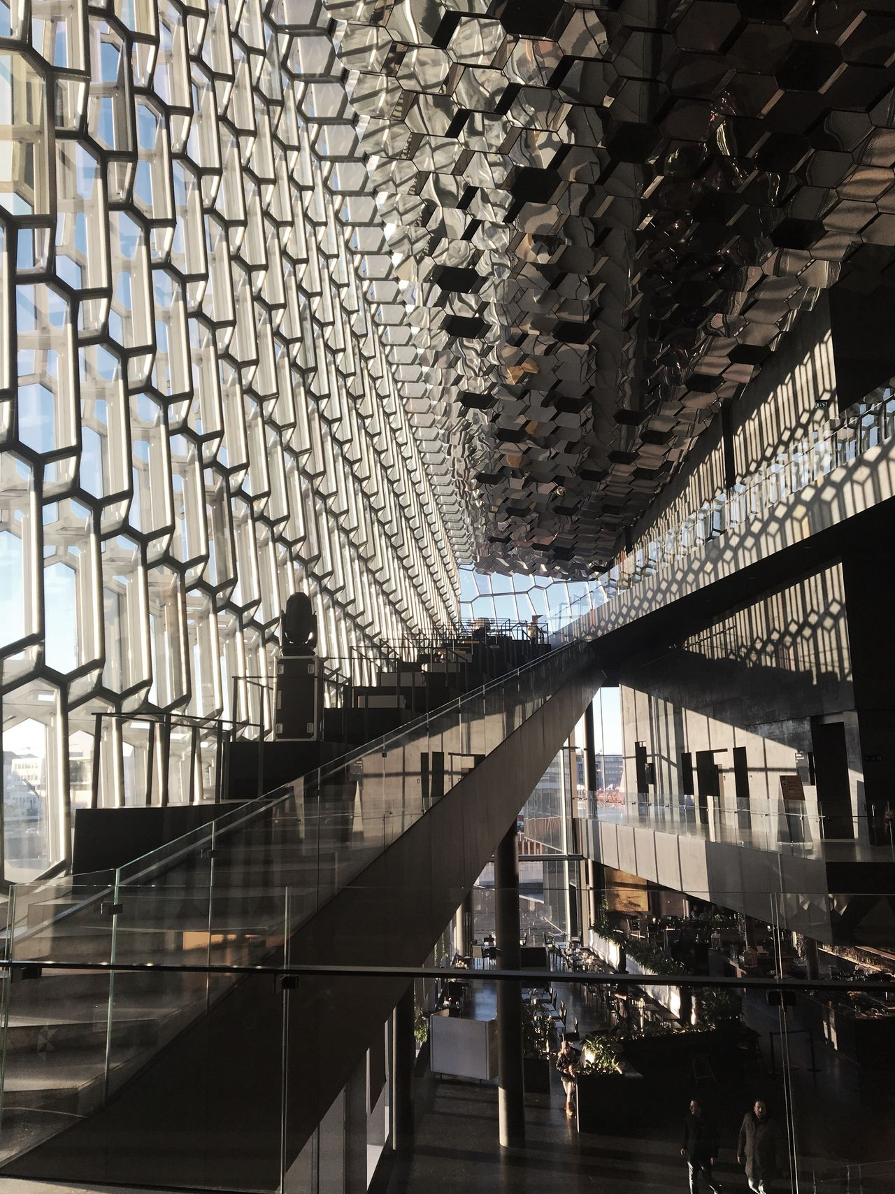 Lounge Architecture Indoors  Day No People Structure Olafur Eliasson Capital Cities  Iceland Interior Public Places Sunlight Window Indoors  Daylight Light And Shadow Architecture Diagonal Lines Honeycomb Glass Operahouse Harpa Harpa Reykjavik Architecture Glass Façade Reykjavik Opera House