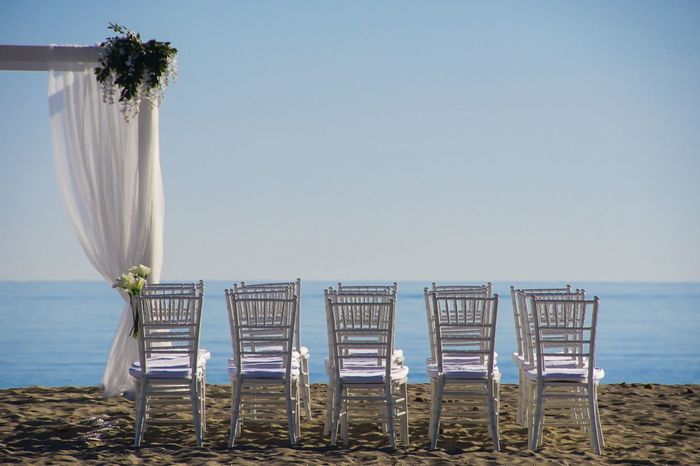 prepared for the the great day - beach at Mallorca Absence Beach Beach Photography Blumen Showcase June Flowers Hochzeit Horizon Over Water Ocean Outdoors Pattern Row Scenics Sea Shore Sitze Sonne Strand Stuhl Stühle Wedding Wedding Day Wedding Photography Weddings Around The World An Eye For Travel