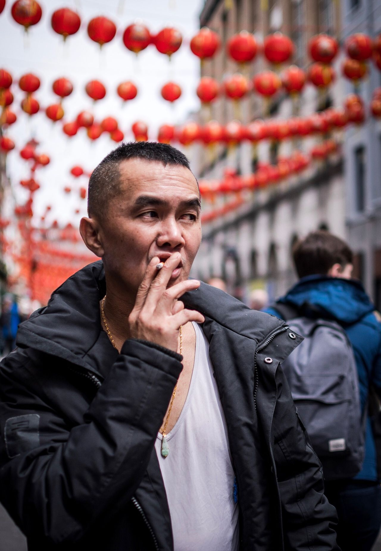 The Street Photographer - 2017 EyeEm Awards Smoking and walking Outdoors Day City Real People One Person Portrait Smoking Street Photography Streetphotography London Chinatown Building Exterior Adult One Man Only People