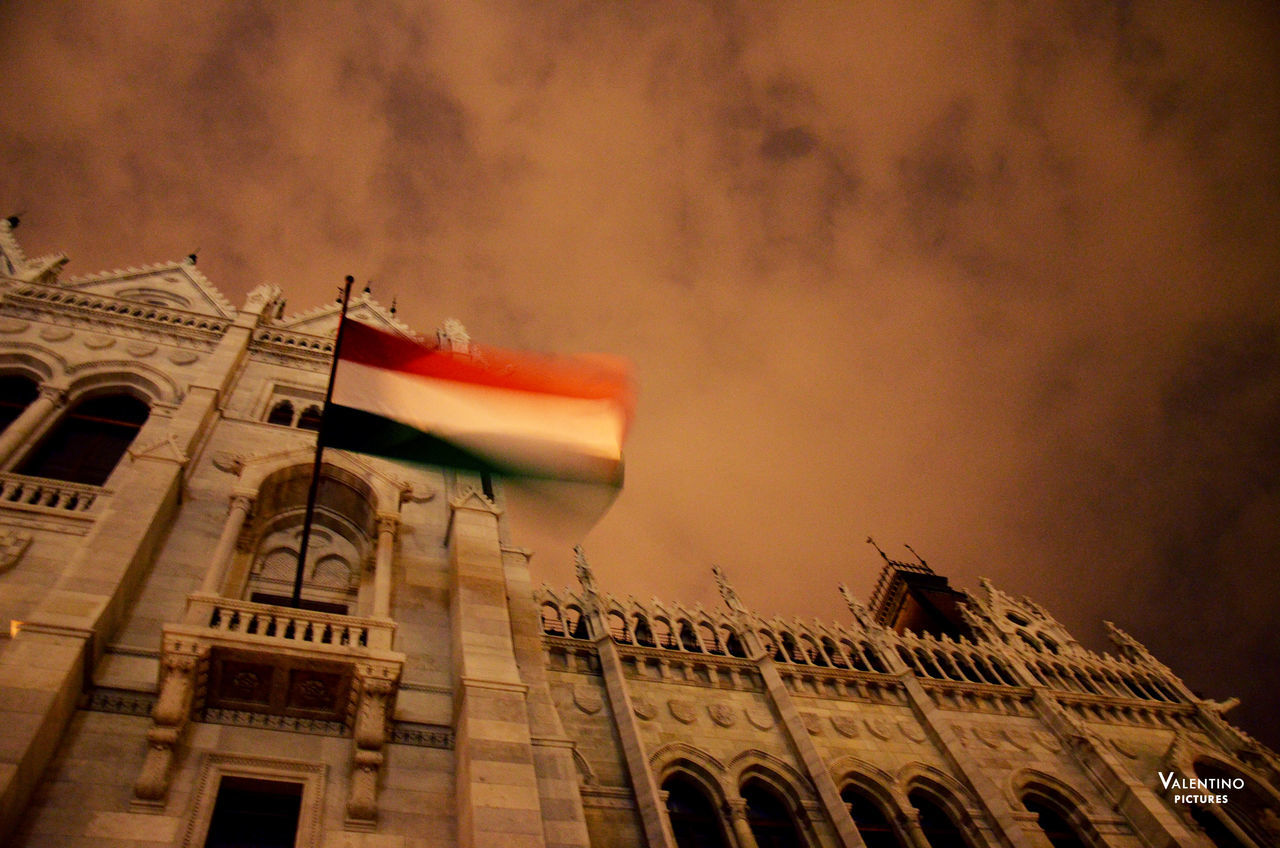 #budapest #cloudy #flag #foggy #Hungarian Parliament #hungarianflag #longexposure #motion #nationalflag #parliament #windy #Winter