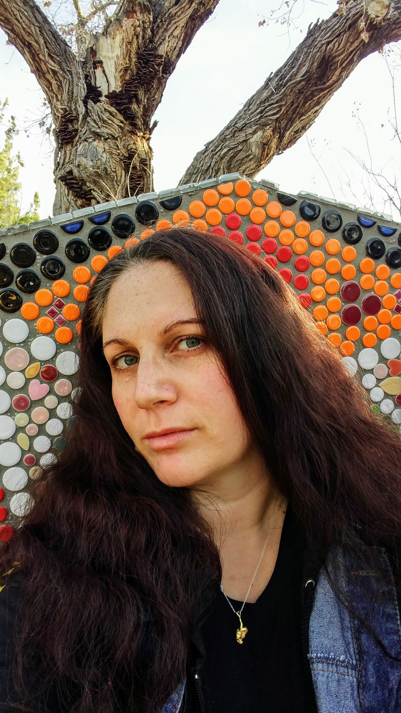 Selfie on Mosaic Throne One Person Long Hair Contemplation Leisure Activity Headshot One Woman Only Beautiful Woman Portrait Front View Close-up Women Outdoors People Beauty Only Women Day Mosaic Sunshine Winter Green Eyes Gold Nugget No Smile Selfıe No Makeup Long Hair