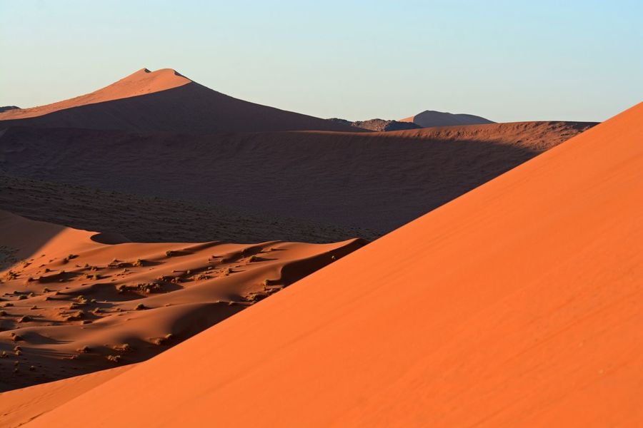 Dune 45, Namibia Namib Naukluft National Park Namibia Dune 45 Sossusvlei Sand Dune Sand Arid Climate Desert Nature Scenics Tranquil Scene Landscape Tranquility Clear Sky Outdoors Physical Geography Beauty In Nature No People Sky Day First Eyeem Photo