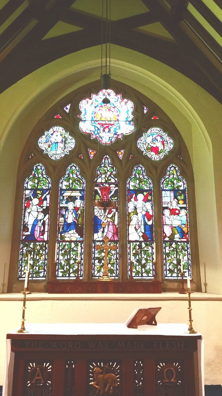 window, stained glass, indoors, place of worship, architecture, built structure, day, no people, ceiling