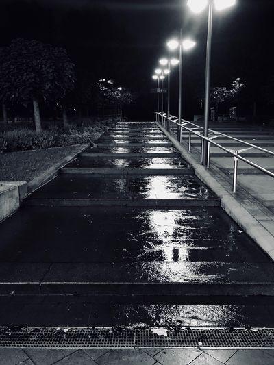 Night Illuminated The Way Forward Street Light Outdoors No People Cold Temperature