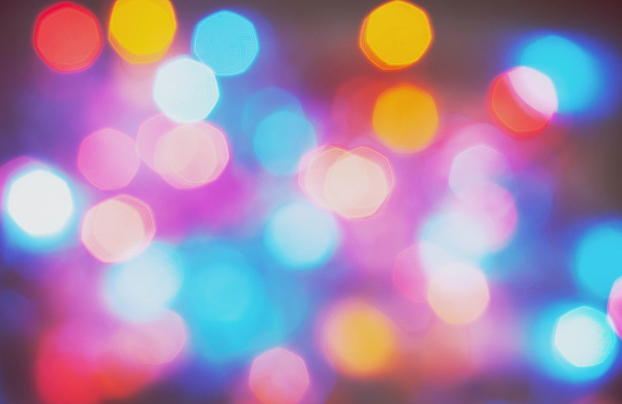 Bokeh Bokeh Photography Defocused Illuminated Multi Colored Backgrounds Abstract Night Spotted Pattern Light Effect Lighting Equipment Blurred Fairy Lights Light No People Close-up Full Frame Christmas Nightlife Outdoors