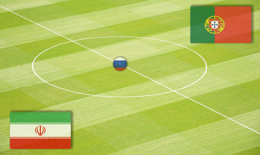 Soccer field with the World Cup mating Iran against Portugal Eighth-Finals Football Group Stage Lines Marker Morocco National Team Portugal Russia SPAIN Semi-Finals Stadium World Championship World Cup Mating World Ranking Final Football Field Football Pitch Group Play Iran Middle Circle Play Matings Round Of The Last Sixteen World Championship Mating World Cup