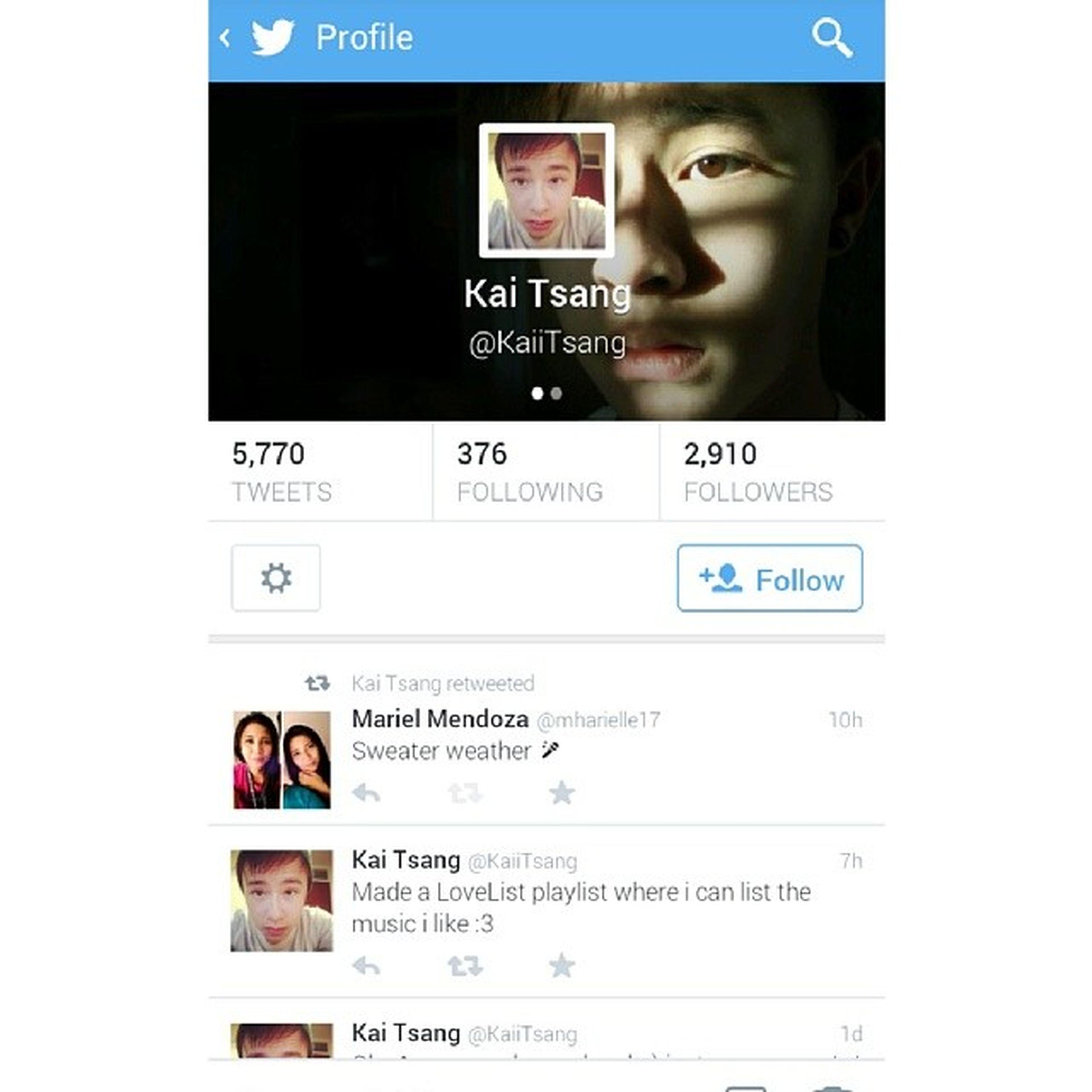 Kai tsang re tweeted! I do love his cover :) Kaitsang @kaiitsang