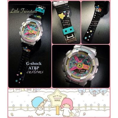 Supercute customized Little Twin Star G-Shock! The 80's babies can definitely relate to this... Gshock_Lover ❤️