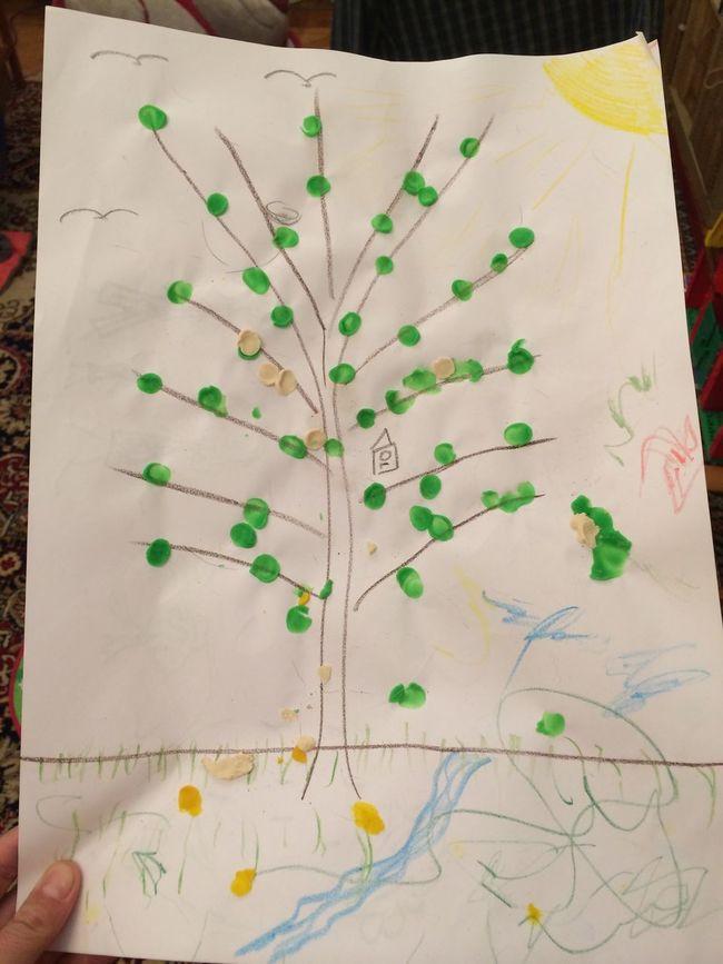 Выращивали листочки из пластилина на дереве тематическая неделя Spring развивашки