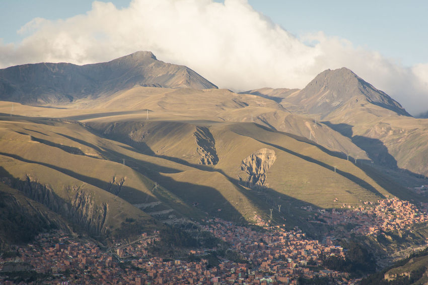 At the top of the Mi Teliferico cable car in La Paz, El Alto - Bolivia Beauty In Nature Cloud - Sky Cloudy Day Extreme Terrain Geology Landscape Majestic Mountain Mountain Range Nature No People Non-urban Scene Outdoors Physical Geography Remote Rocky Scenics Sky Tourism Tranquil Scene Tranquility Valley