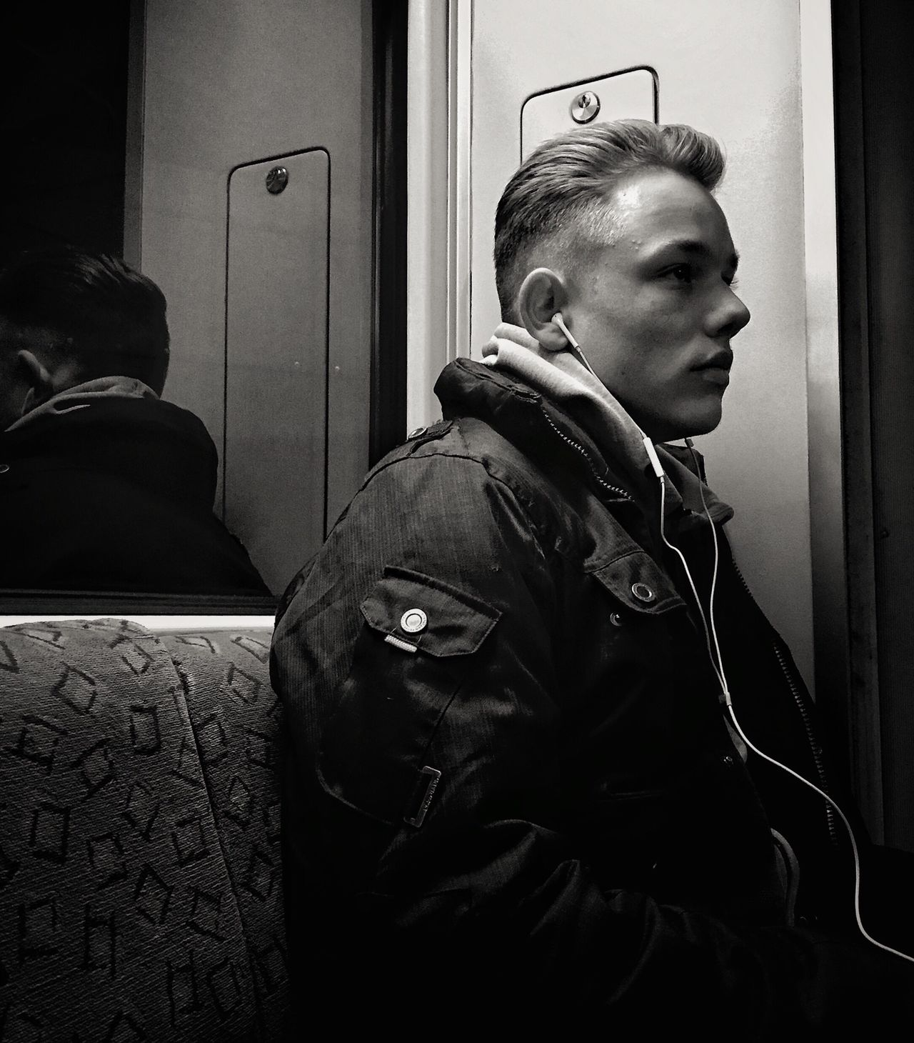 Subway Train Train - Vehicle Public Transportation Vehicle Interior Passenger Transportation Indoors  Adults Only Only Men One Person Young Adult Real People Commuter Adult Day People Train Interior Streetphotography Streetportrait Bnw Blackandwhite Berlin Myfuckingberlin Iphone6 Mobilephotography
