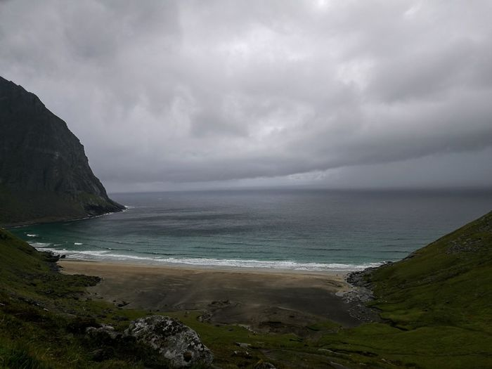 Sea Beach Landscape Dramatic Sky Scenics Atmospheric Mood Awe Coastline Beauty In Nature Storm Cloud Sand Cloud - Sky Outdoors Horizon Over Water Rough Texture Wilderness Natural Phenomenon Norway The Lofoten Islands Black Sand Beach Black Sand Clouds And Sky Sky Nature Mountain Miles Away