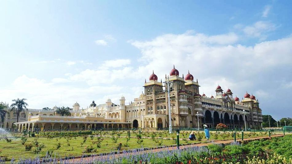 Hello World! Outdoors Lawn Tourism Palace Mysore, India Mysore Palace Mysuru Palace Of Fine Arts Palace Of Culture EyeEm Eyeemphotography Eyeem Photography Vibrant Color EyeEm Gallery Eye4photography  Garden Photography India Sky Cloud - Sky Architecture Built Structure Building Exterior Travel Destinations Famous Place