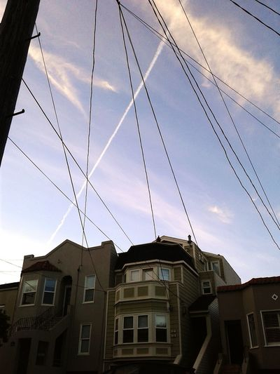 LINES Architecture Lines Phoneography Building Exterior Day Neighborhood San Francisco Noe Valley Afternoon Sky Buildings City Chemtrails Power Lines