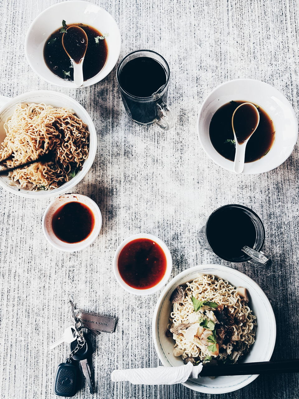 drink, food and drink, table, coffee cup, coffee - drink, refreshment, directly above, freshness, bowl, high angle view, indoors, no people, food, breakfast, ready-to-eat, tea - hot drink, healthy eating, day, close-up