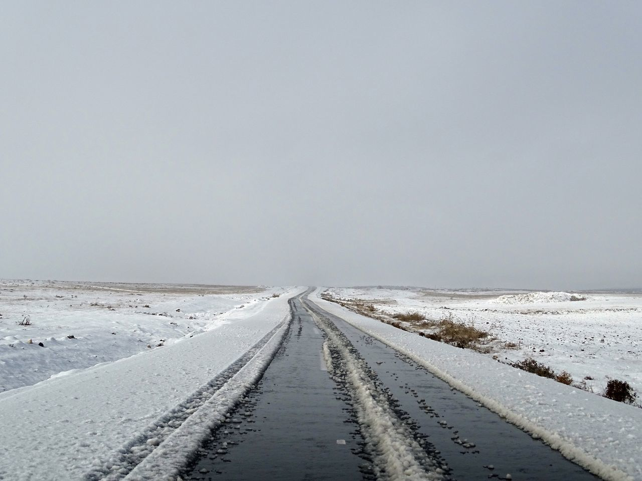 Winter And Ride Day Cold Temperature Weather Road The Way Forward Winter Snow Outdoors Tranquil Scene Nature Scenics Landscape Tranquility No People Beauty In Nature Transportation Sky Clear Sky
