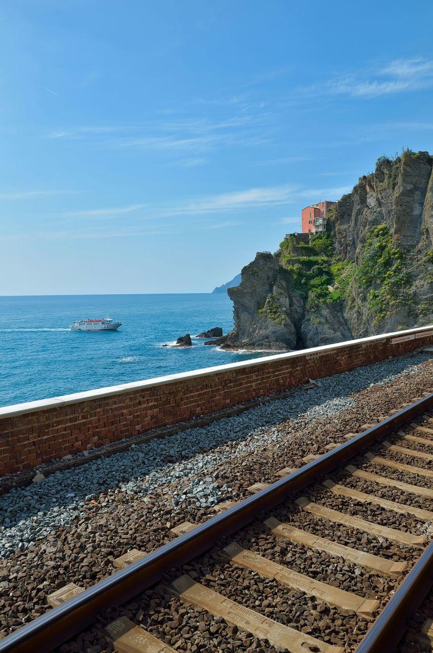 Railroad Tracks By Sea Against Blue Sky