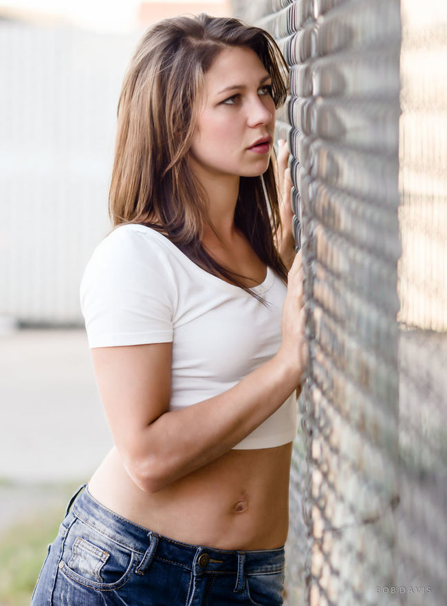 At the fence... Beauty Belly Button Casual Clothing Day Fence Lifestyles Long Hair Person Street Scene Young Adult Young Women