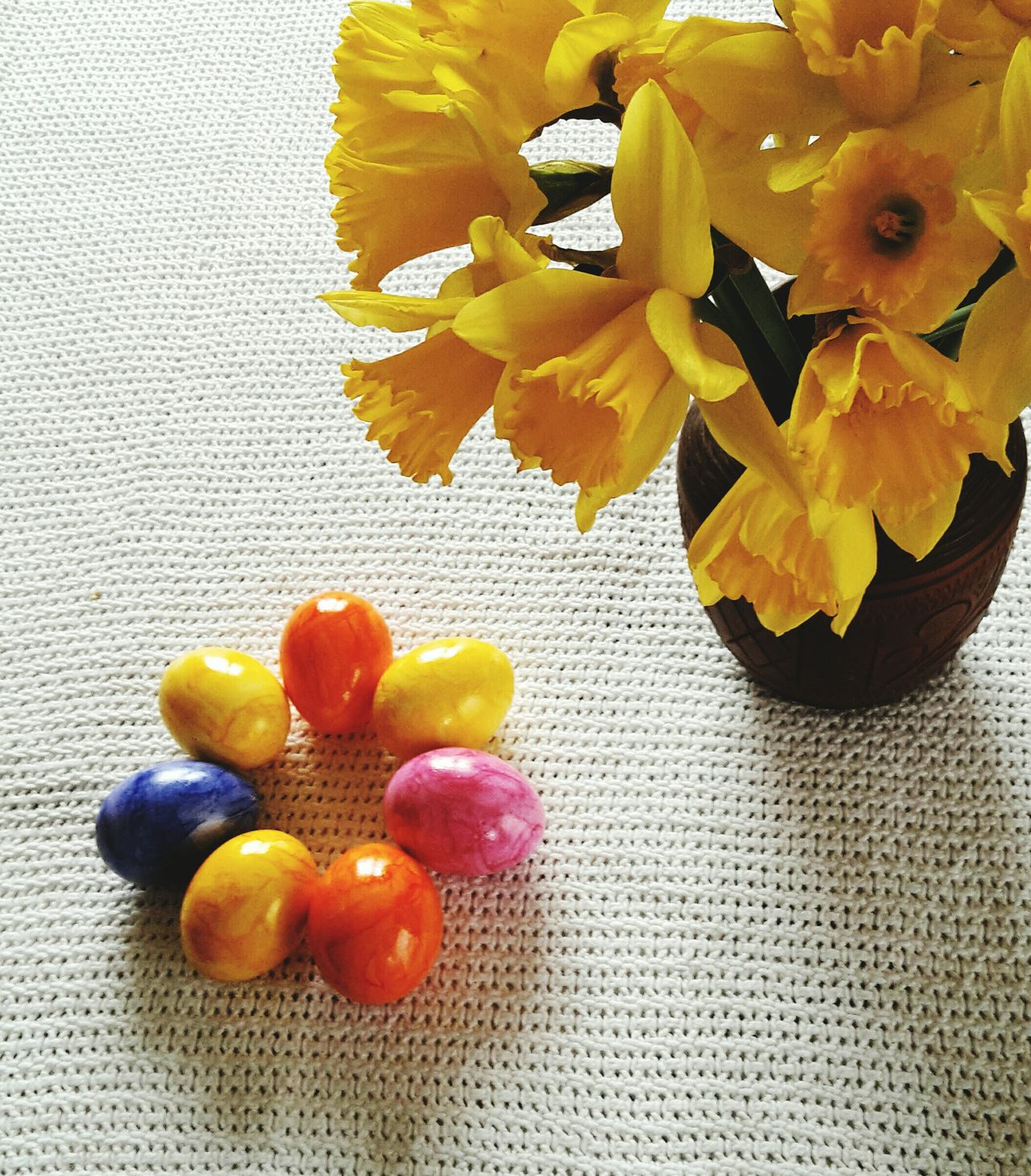 Happy Easter Yellow Freshness Close-up No People Indoors  Day Easter Easter Eggs Easter Ready Colors Colorful Colored Eggs Daffodils Yellow Decoration Celebration Springtime Spring Flowers
