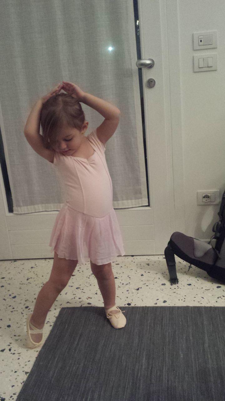 Cute Girl Doing Ballet Dance At Home