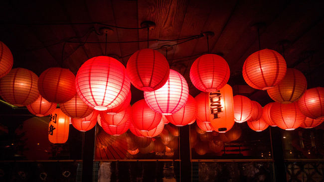 Red Lantern Chinese Lantern Chinese Lantern Festival Cultures Illuminated Hanging Chinese New Year Lighting Equipment Traditional Festival Low Angle View Repetition Night Horizontal No People Outdoors Close-up