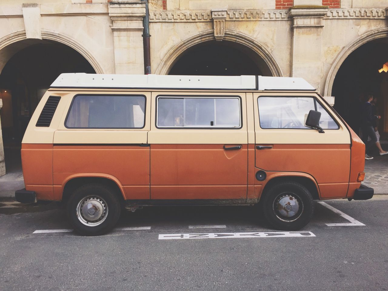 Day Outdoors Van Volkswagenbus Volkswagen Orange Orange Color Car Vintage Vintage Cars