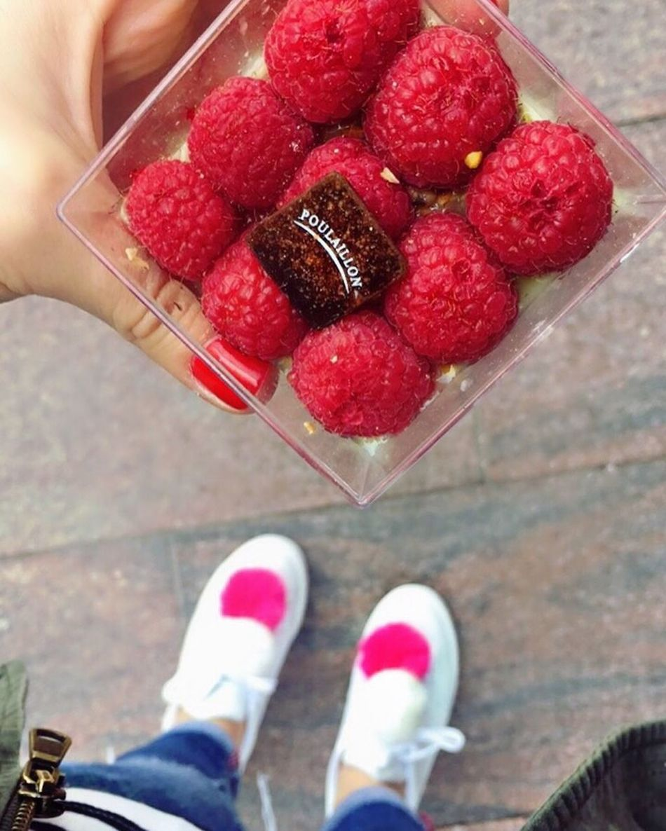 Red Human Body Part Food And Drink Real People Low Section Human Leg Women Lifestyles One Person Freshness Close-up Day Indoors  Human Hand Adults Only Adult People Pastery France Raspberry Framboise Poulaillon Patesrie