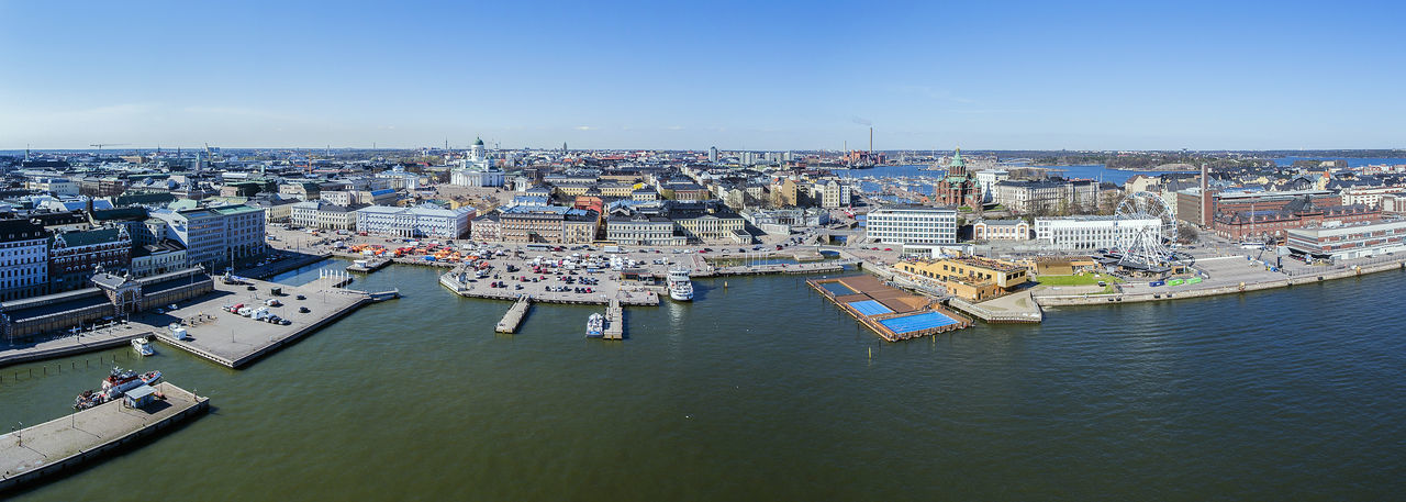 Aerial Aerial Photography Aerial View Boat Buildings Cityscape Clear Sky Drone  Dronephotography Finland From Above  Helsinki High Angle View Ilmakuva Lake Panorama Panoramic Sea Seaside Sky Summer Suomi Water