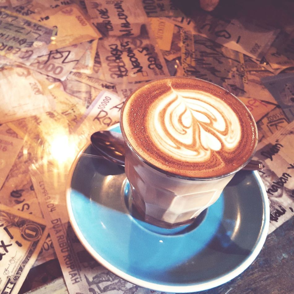 Hot cafe latte over signed paper bucks Coffee Cafe Latte Enjoying Life Relaxing Nice Atmosphere Holiday Drinks