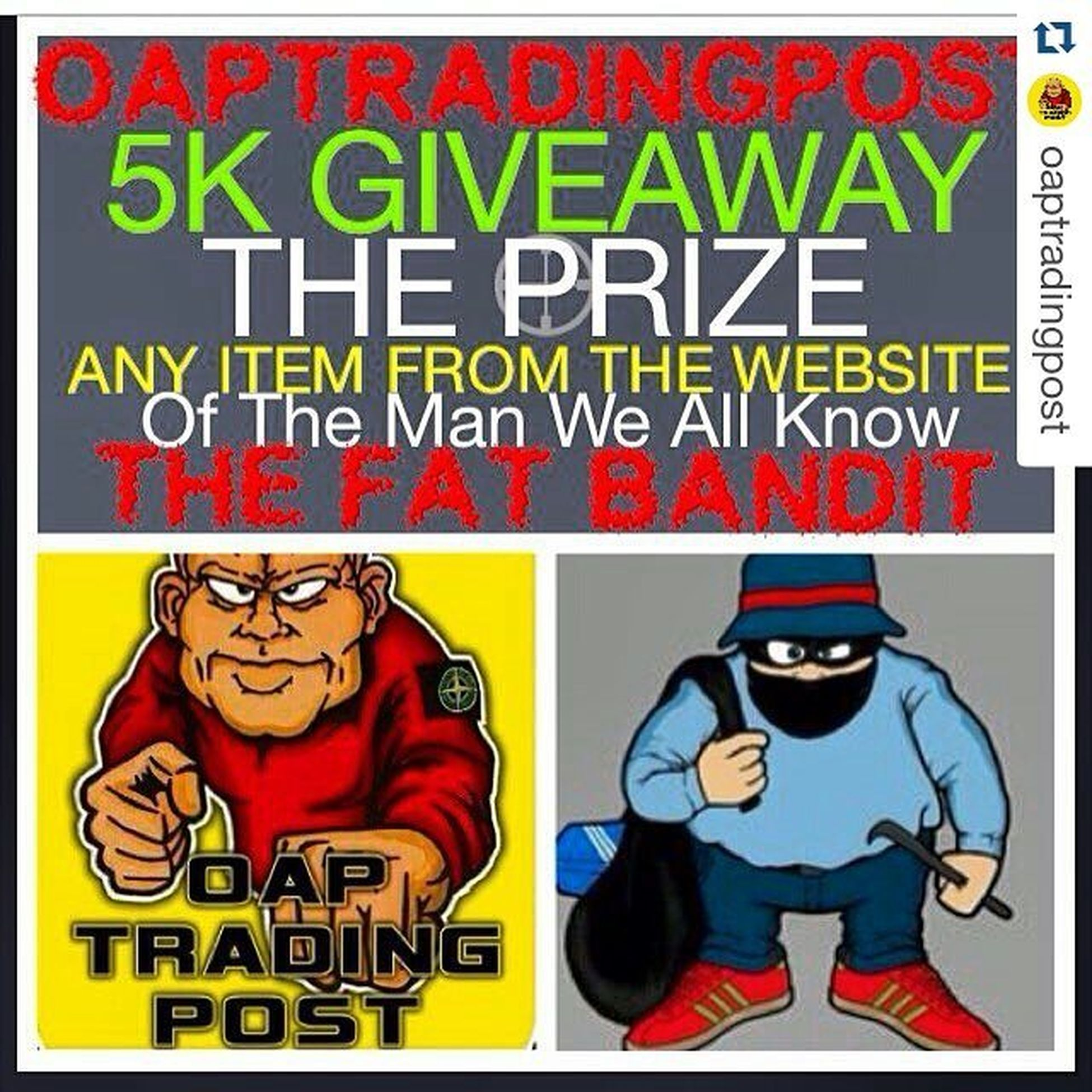 Come on!!! 100% LEGIT GIVEAWAY AT 5k👊🏻, . REPOST THIS POST WITH THE HASHTAG -- Fatoapvin Fatoapvin , & TAG 1 FRIEND 👍🏻, . MAKE SURE YOU ARE FOLLOWING , @oaptradingpost , @the_fat_bandit , @vindidas , , THE PRIZE IS ANY PRODUCT FROM @the_fat_bandit website , . THE WINNER WILL BE CHOSEN BY @vindidas , AT RANDOM AFTER WE HIT 5k FOLLOWERS👍🏻, , IF YOU HAVE YOUR PAGE ON PRIVATE THEN OPEN IT PEOPLE OR WE WONT SEE YOUR ENTRY, . @theoapcasualdresser @the_fat_bandit @vindidas @theoapcasualdresser Giveaway Casual Clobber Terrace Casuals THISISAREALGIVEAWAY Fact