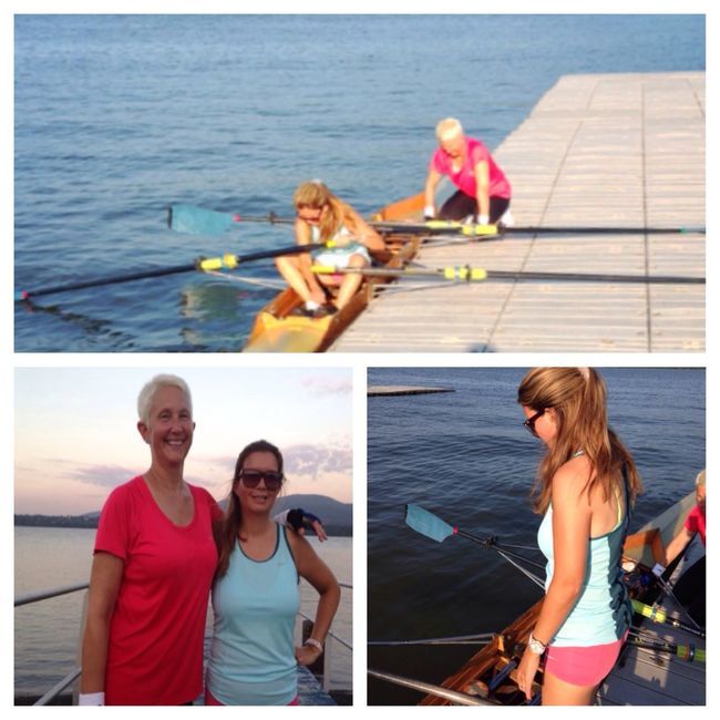 "WHAT AN ADVENTURE!!! I would like to thank my rowing BFF, Mrs. Mills for pushing me beyond my comfort zone (okay way beyond my comfort zone) as always. Tonight, we rowed to Cornwall landing, about 9000 m round-trip or 5.6 miles -- in the therapeutic double. It was a very strong current on the way out and very deceptive, we thought we would have the current with us on the way back. In fact, we were in a weird channel and we rowed against the current both ways. It was rough and whitecappy out there; the water was coming right over our crew shell and coach Fernandez was having us do hard 20s to get us out of the scary areas. We discussed our flipping strategy (""OK, at least one of us has to not hit their head against the boat and remain conscious"") and for a good portion of the trip we were convinced that we were going in the Hudson. We rowed our little hearts out and really --!what better adventure could two 50-year-old moms ask for on a Tuesday evening? Thanks also to coach Fernandez for getting us through it! ??? Rowing Love To Row Tadaa Community"