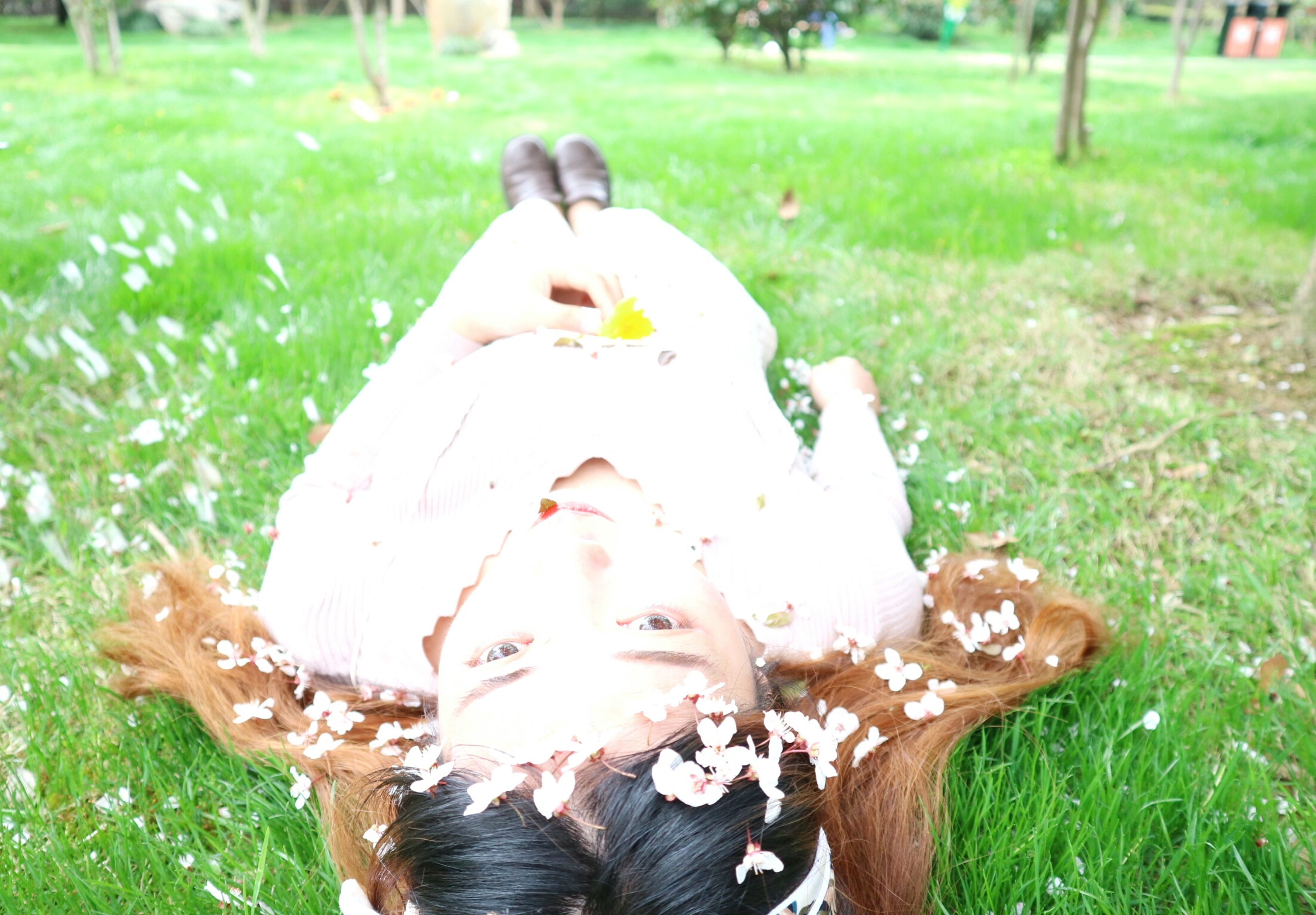 grass, rear view, playing, outdoors, one person, happiness, day, nature, people, adult