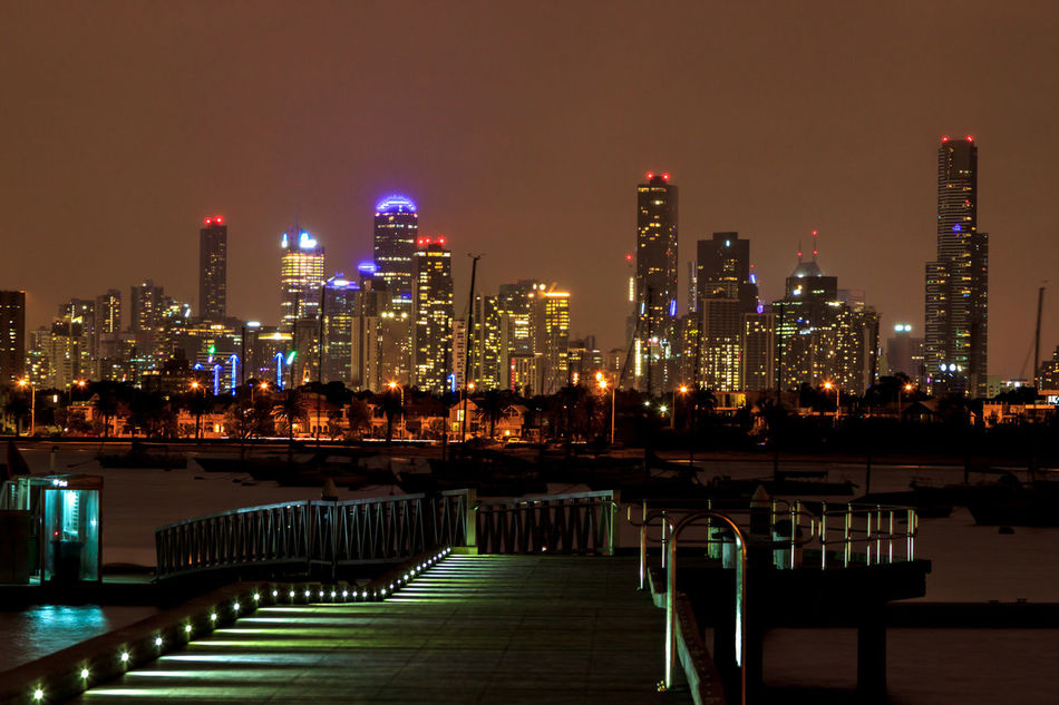 The Melbourne skyline from St Kilda at night Architecture Building Exterior Built Structure City City Life Cityscape Eye4photography  EyeEm Best Shots Illuminated Modern Night No People Outdoors Sky Skyscraper Travel Destinations Urban Skyline