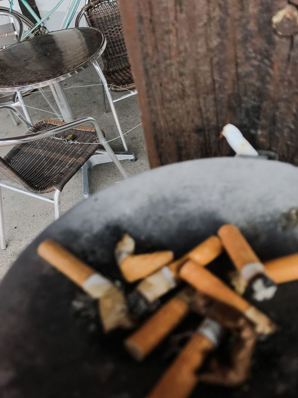 Ashtray  Bad Habit Close-up Day Food Food And Drink Freshness High Angle View No People Outdoors Sweet Food Table