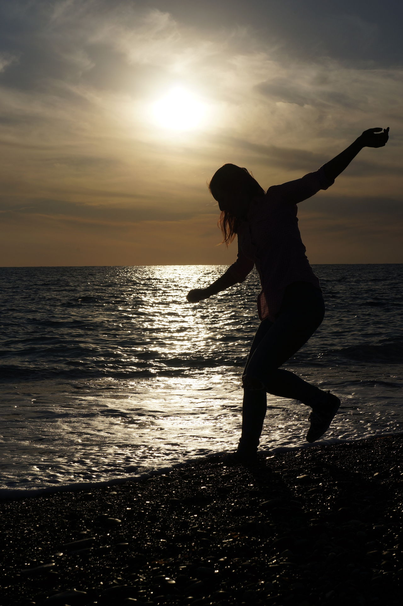 Backlight Beach Cyprus Full Length Girl Happiness Horizon Over Water Leisure Activity Mediterranean Sea Motion Nature One Person Outdoors Silhouette Sky Sunlight Sunset Water Wave Woman