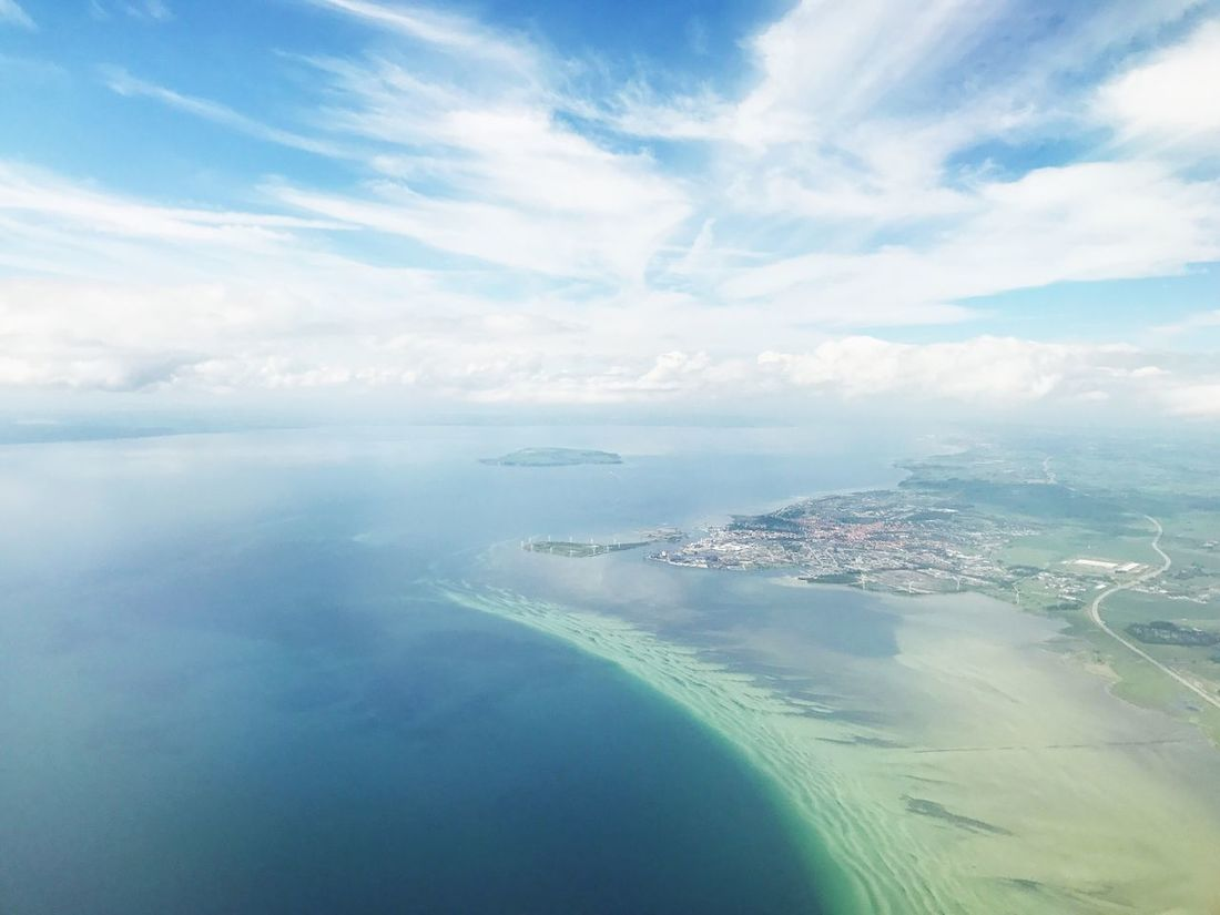 Sea Sky Cloud - Sky Water Scenics No People Aerial View Tranquility Tranquil Scene Beauty In Nature Nature Day Outdoors Blue Horizon Over Water Landscape Airplane