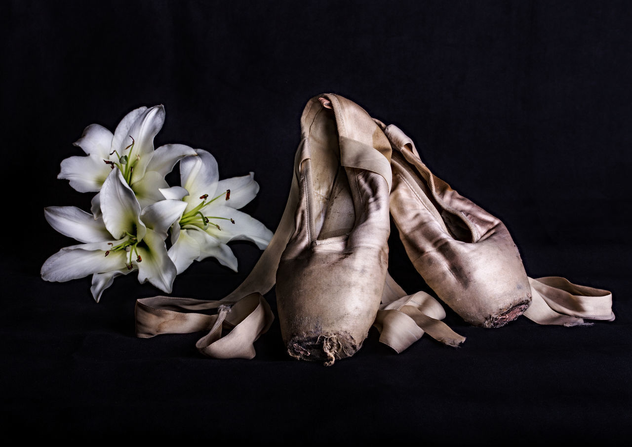 Ballet Ballet Shoes Black Background Close-up Dance Death Flash Photography Flower Flower Head Frayed Lily Flower No People Outdoors Ribbon Sad Sadness Shoes Sorrow Stained Worn Out