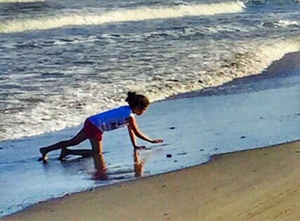 Blue Wave Youth-Innocence-Imagination-Joy Enjoying Life Ips6+ Iphoneonly IphonePhotography, Public Places Youth Of Today Young Girl Living In America Blue Sky Waves Rolling In Sand & Sea Water Sandy Beach SouthPadreIsland TX Waves Sand Blue Child