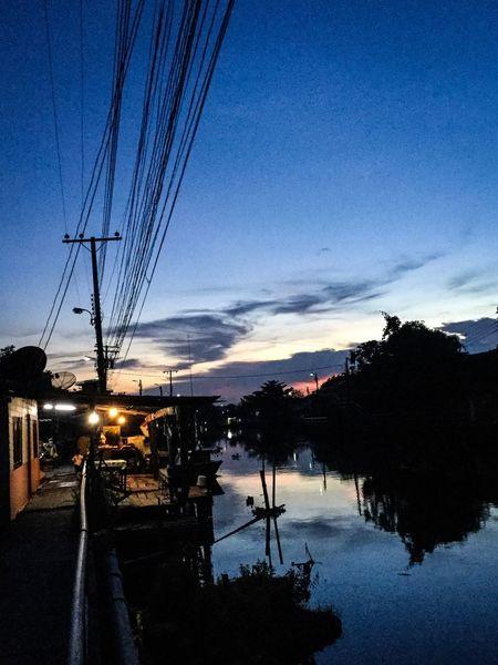 Sunset Sky Riverside Blue Sky Evening Khongriverside Thailand