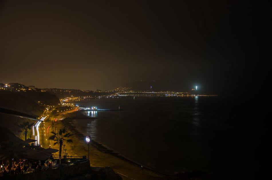 Barranco Barranco Lima Coastline Illuminated Lima Miraflores Night Ocean Road Pacific Ocean Peru South America Miraflores Lima