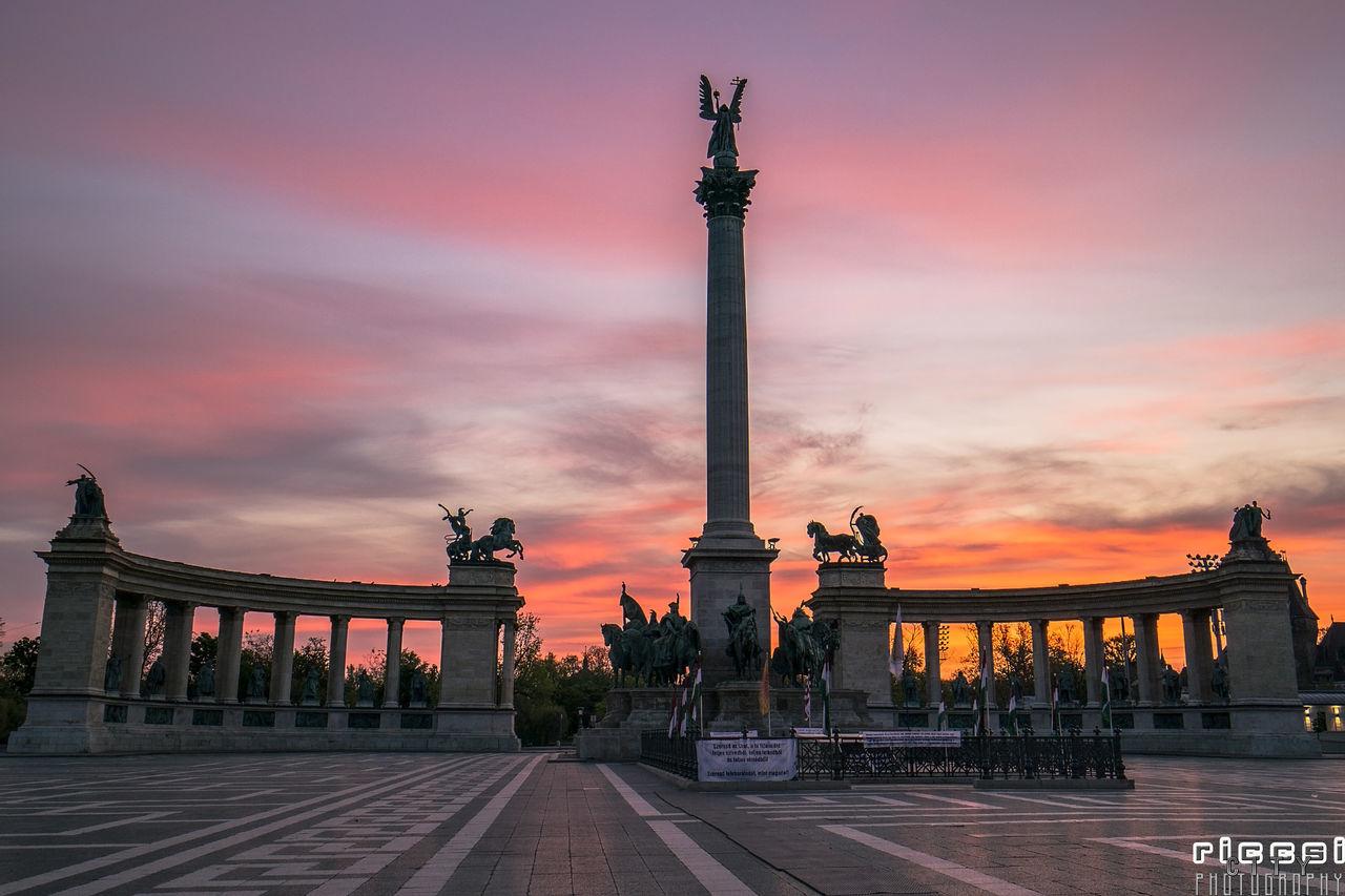 Heroes' Square Budapest Architecture Budapest Heroessquare Monument Riccsi Sculpture Sculptures Silhouette Sunrise Urban