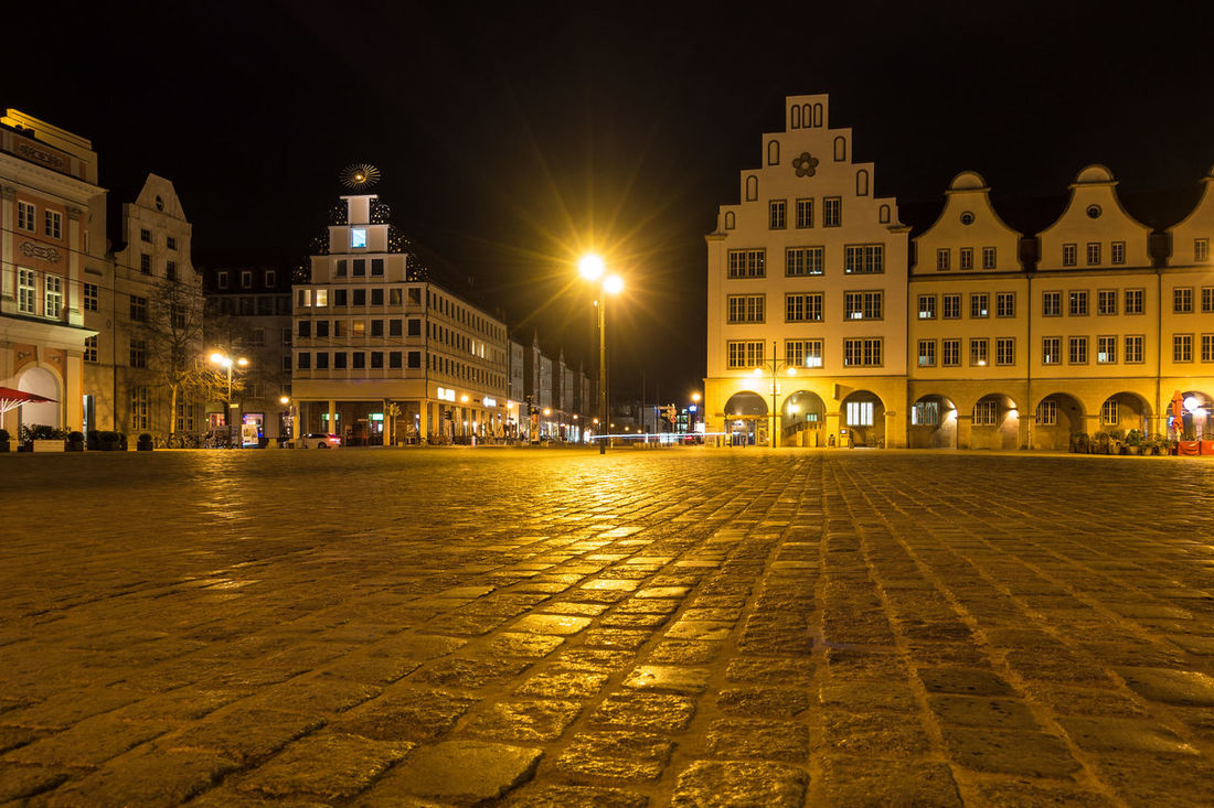 Building in Rostock, Germany. City Holiday Lantern Mecklenburg-Vorpommern Rostock Sky And Clouds Street Light Architecture Building Building Exterior Built Structure Cloud - Sky Evening Journey Landmark Neuer Markt Night No People Outdoors Tourism Town Travel Destinations Vacation